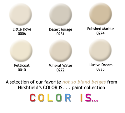 Beige paint colors from Hirshfield's