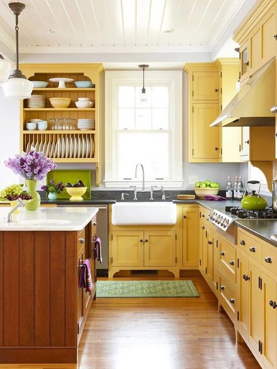 Kitchen cabinets painted mellow yellow