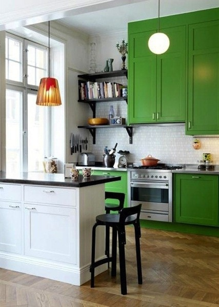 Green-painted-kitchen-cabinets | Hirshfield's