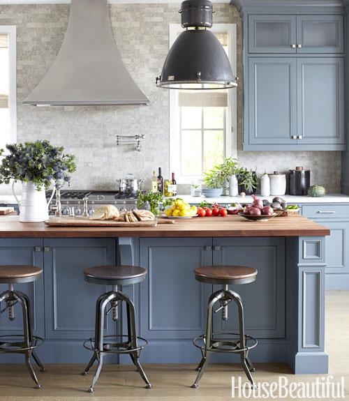Hbx Well Lillian Lucas Blue Wooden Kitchen Island Blue Cabinets