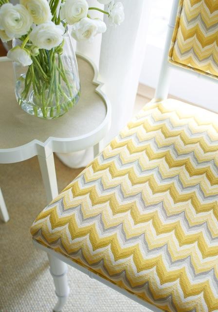 Thibaut yellow and gray fabric