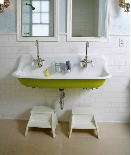 Underside of sink painted green
