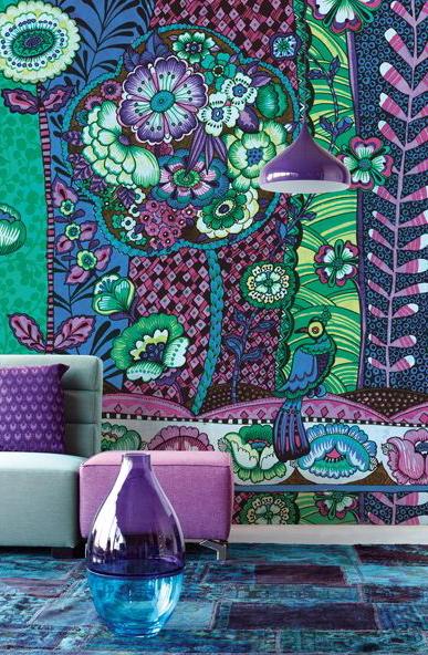 purple, green wild printed wallpaper