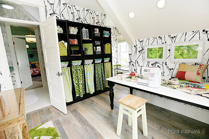 Thibaut wallcovering in an office/craft room