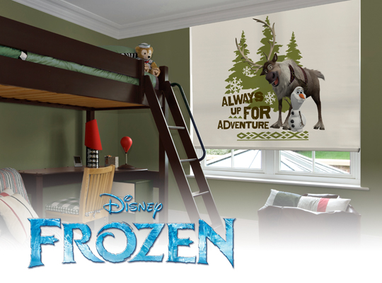 window shade that says Frozen