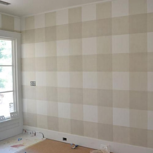 Walls painted in a big check