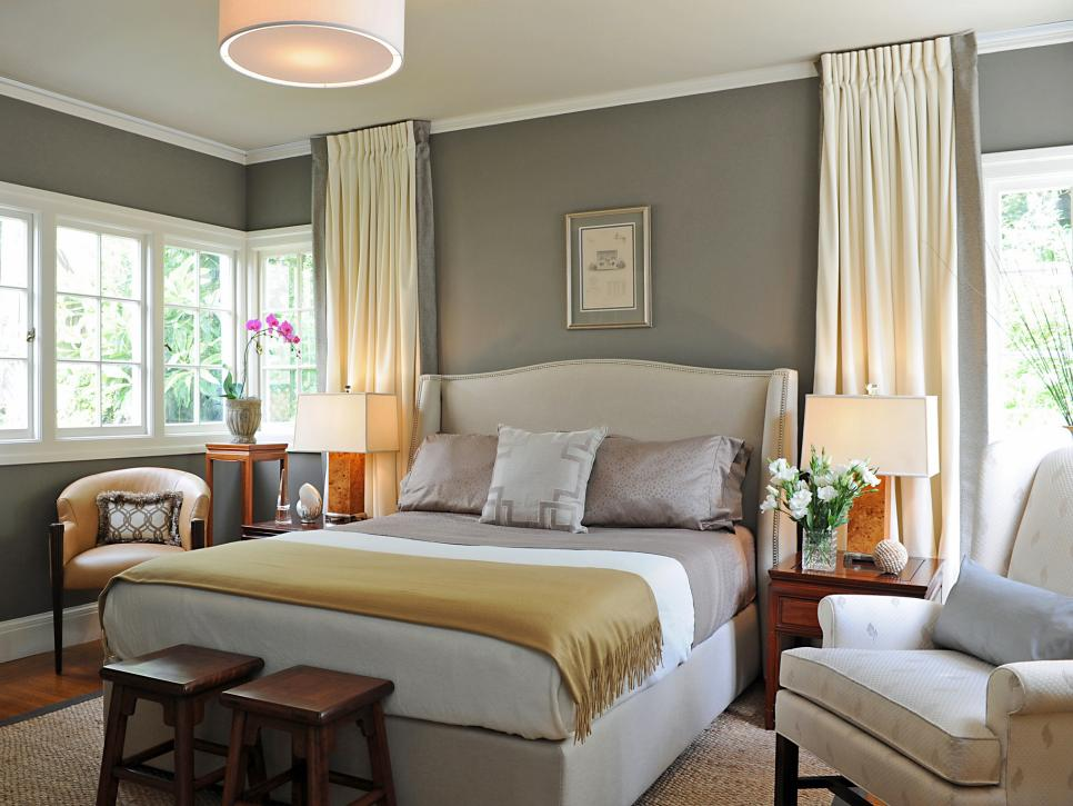 Gray/Yellow Bedroom - HGTV   Photography by Emily Payne