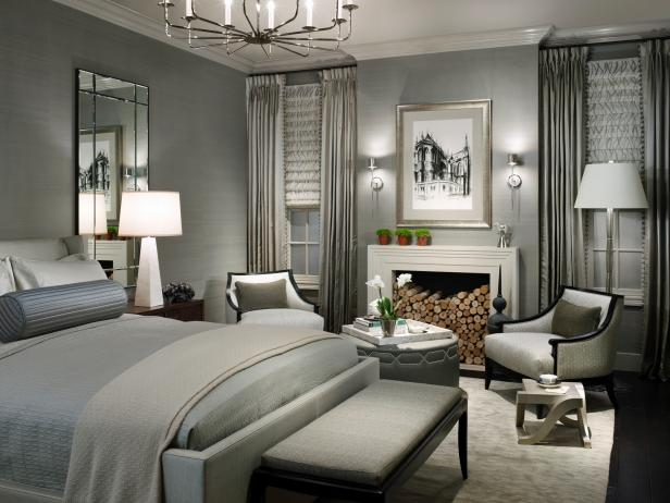 Contemporary Gray Bedroom - HGTV   Photography by Hedrick Blessing