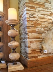 fireplace wall with fake stone wallcovering