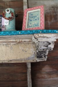 weathered fireplace mantle