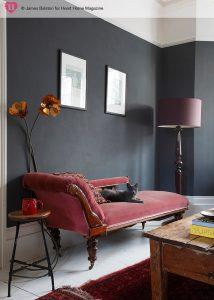 dark gray walls accent wall living room decor