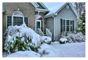 exterior of house in winter, winter prep
