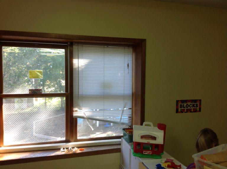 broken window blinds
