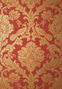red damask wallcovering