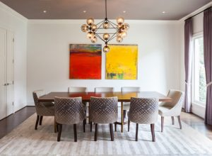 dining room hanging photos with white decor