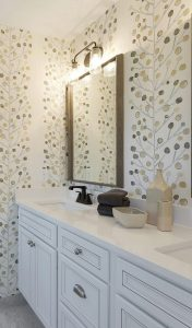 Wallpapered bathroom decor
