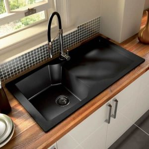 Black kitchen sink decor