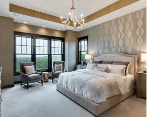 bedroom in luxury home muted color inspiration