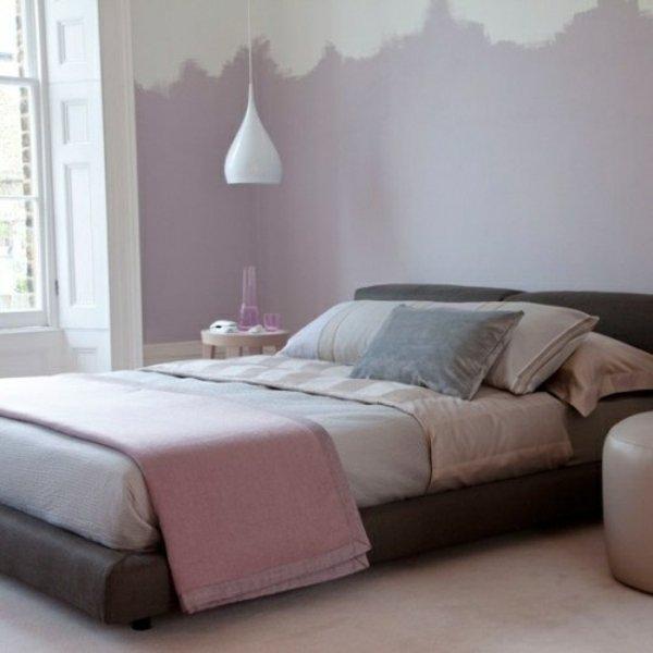 bedroom with purple color-blocked wall fun colors trends interior decor