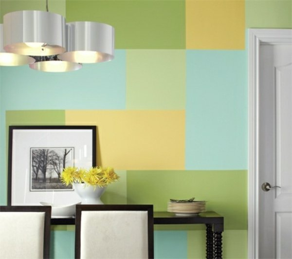 Wall-painting-ideas-rectangles-blue-green-yellow | Hirshfield\'s
