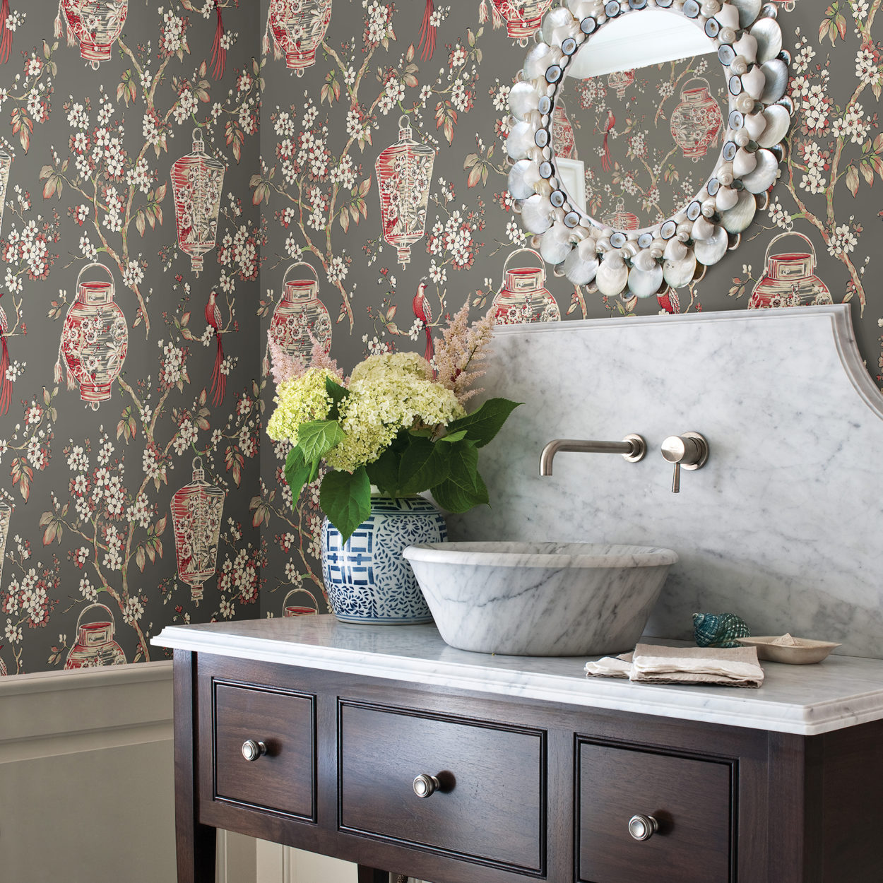 brewster wallpapered room bathroom