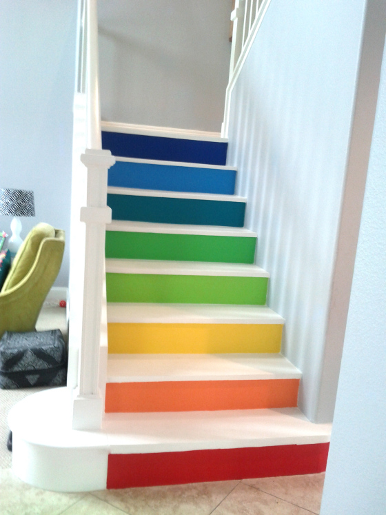 Steps painted in primary colors