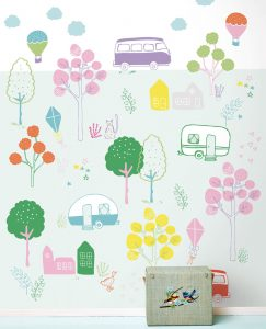 Mural of pastel caravans for kids play room