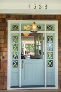 Front door painted Wythe Blue spring home makeover front porch decor