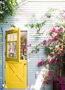 Door painted bright yellow