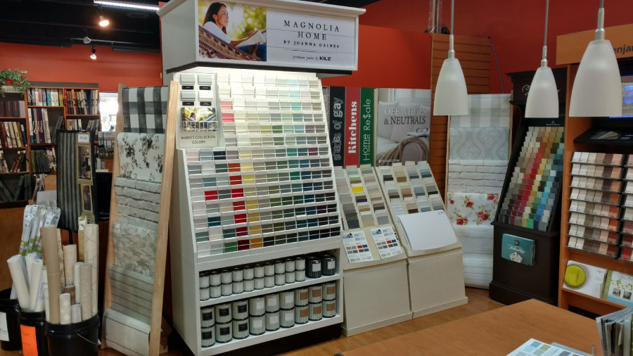 magnolia displays paint chips colors