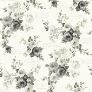 Black and white rose wallcovering