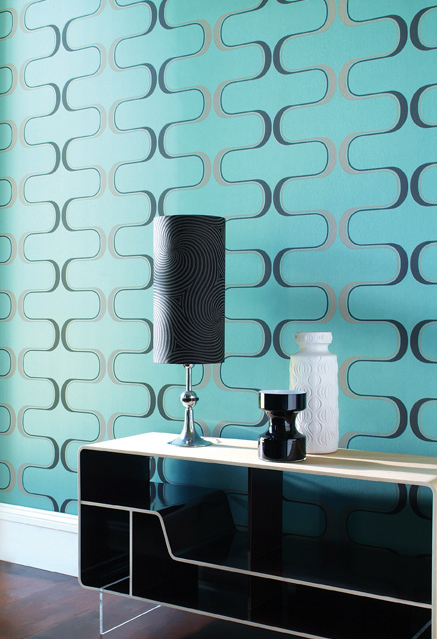 contemporary wallpaper blue and black pattern