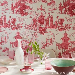 wall papered in Schumacher Chinoserie