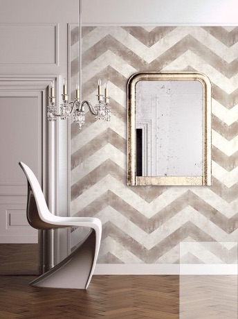 Chevron wallpapered room wallpaper and mural