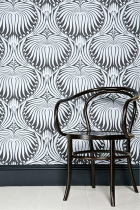 room with farrow & ball wallpaper