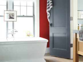 master bathroom red caliente color of the year