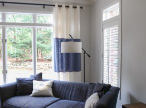 Blue and white color block side panels and shutter