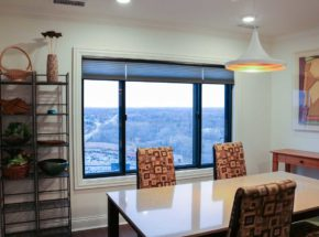 dining room room with a view hunter douglas blinds