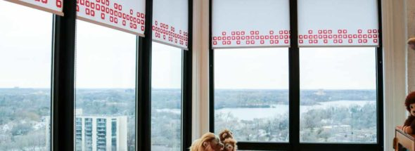 playroom rooms with a view red hunter douglas blinds