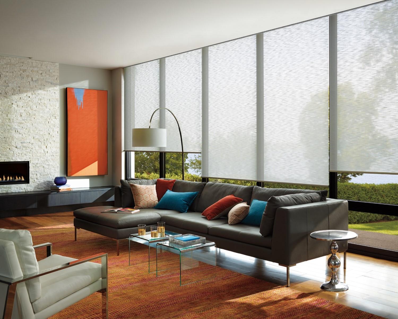 living room hunter douglas orange blue accents