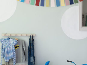 Nursery painted in Pale Powder by Farrow & Ball