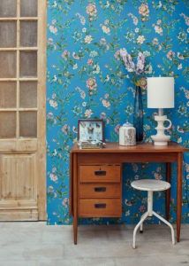 Blue floral wallpaper from Eijffinger