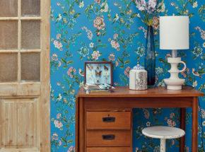 Blue floral wallpaper from Eijffinger