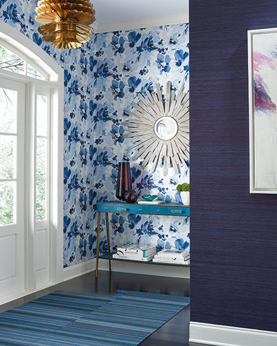 Blue floral wallpaper from Hirshfield's