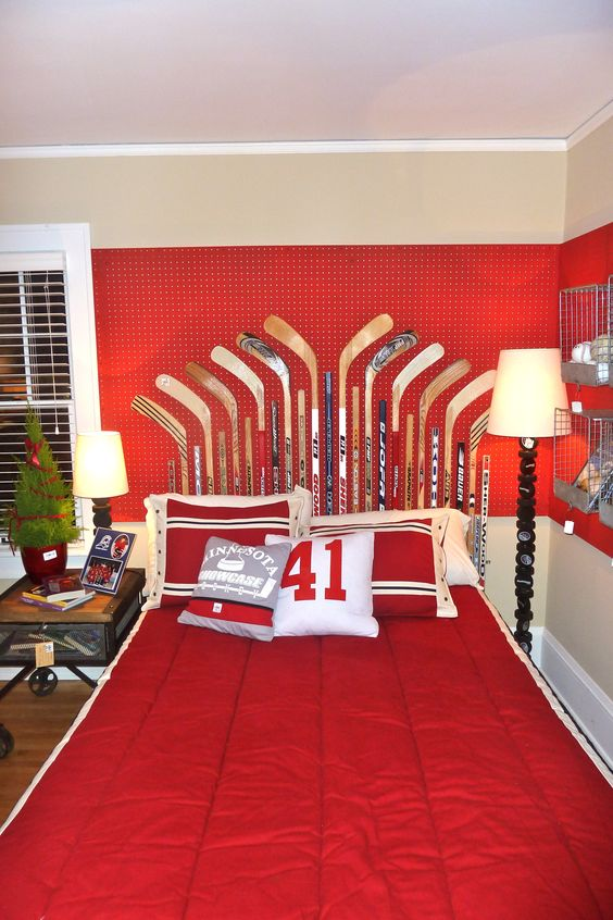 Hockey Headboard and red peg board Hirshfield's Siren 1117
