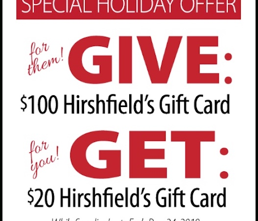 hirshfield's gift card promotion