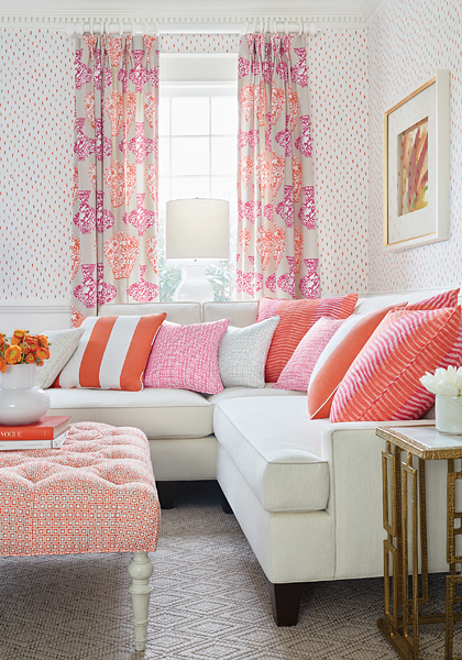 Thibaut pillows and drapes in Living CoraL