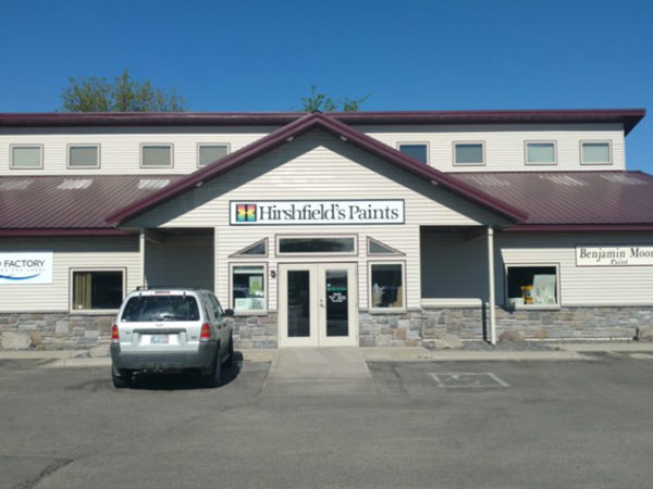 Front view of the white Hirshfield's Paints & Coatings store located at 1010 North Nokomis, Alexandria, MN.