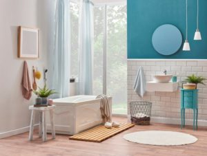 Bathroom painted turquoise Hirshfield's