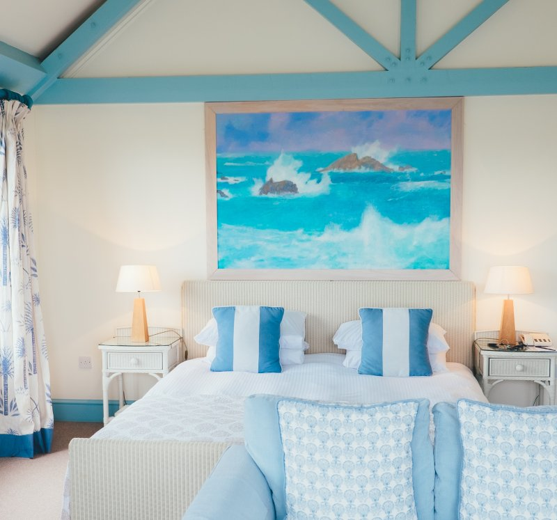 Bedroom with turquoise accents